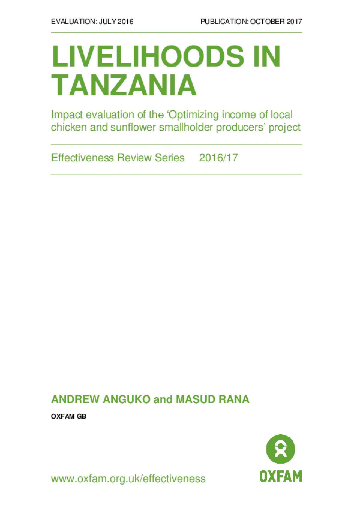 Livelihoods in Tanzania: Impact evaluation of the 'Optimizing income of local chicken and sunflower smallholder producers' project