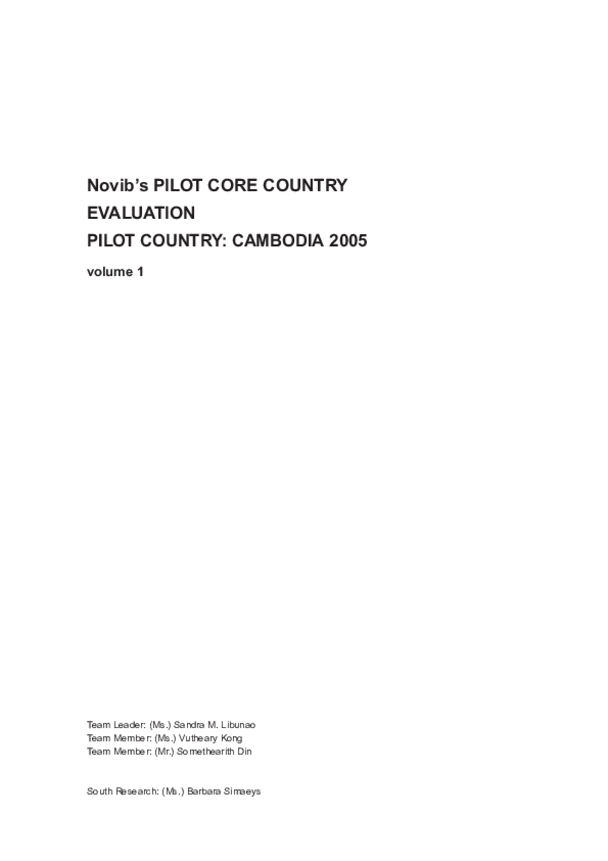 Novib's Pilot Core Country Evaluation: Cambodia 2001 - 2005