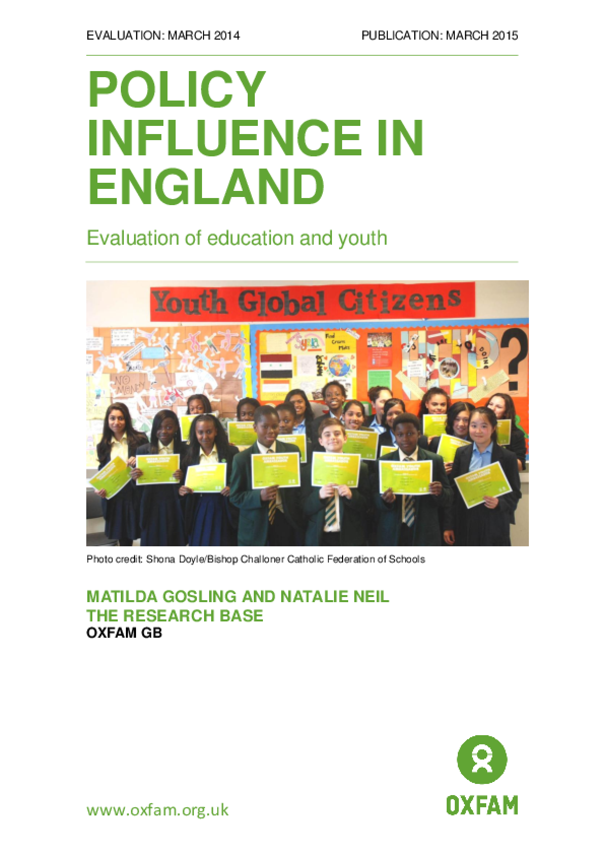 Policy Influence in England: Evaluation of education and youth