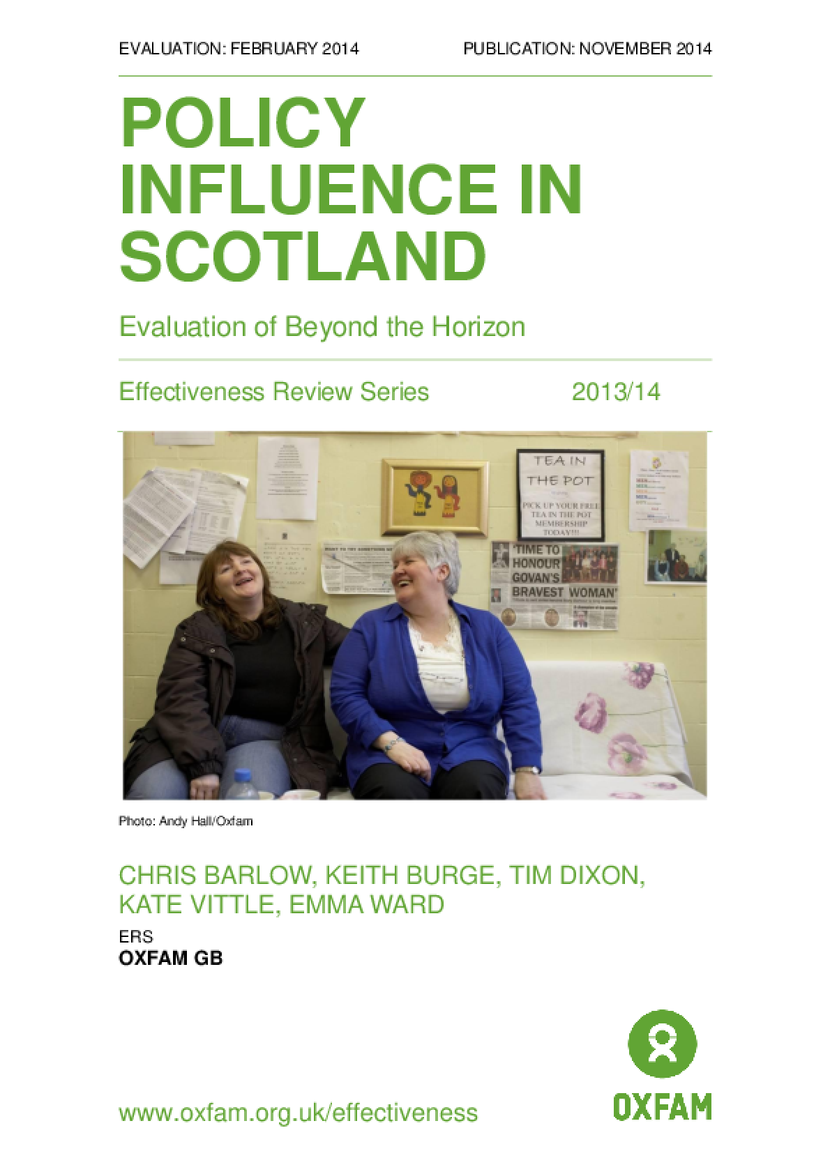 Policy Influence in Scotland: Evaluation of Beyond the Horizon