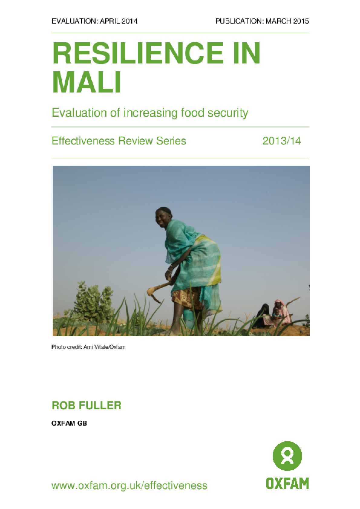 Resilience in Mali: Evaluation of increasing food security