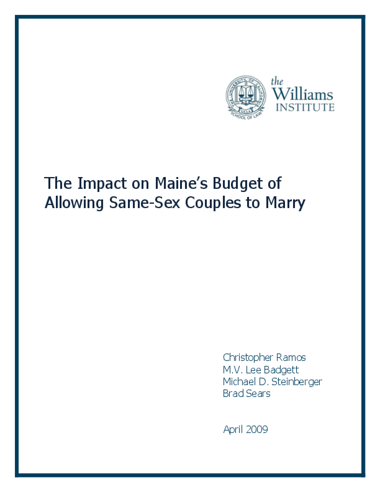 The Impact on Maine's Budget of Allowing Same-Sex Couples to Marry