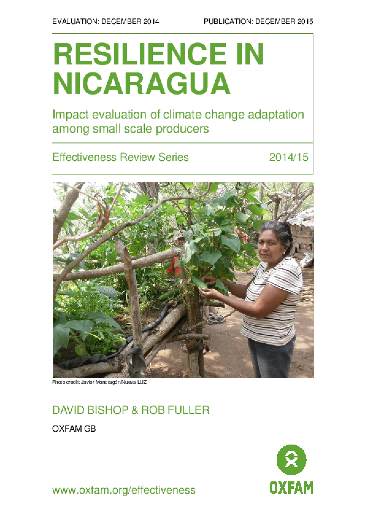 Resilience in Nicaragua: Impact evaluation of climate change adaptation among small scale producers