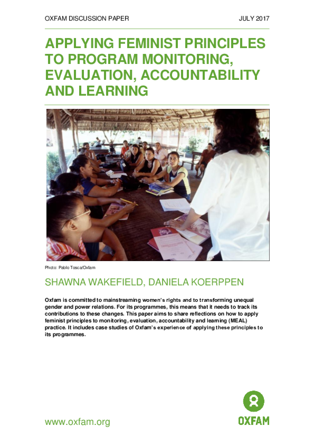 Applying Feminist Principles to Program Monitoring, Evaluation, Accountability and Learning