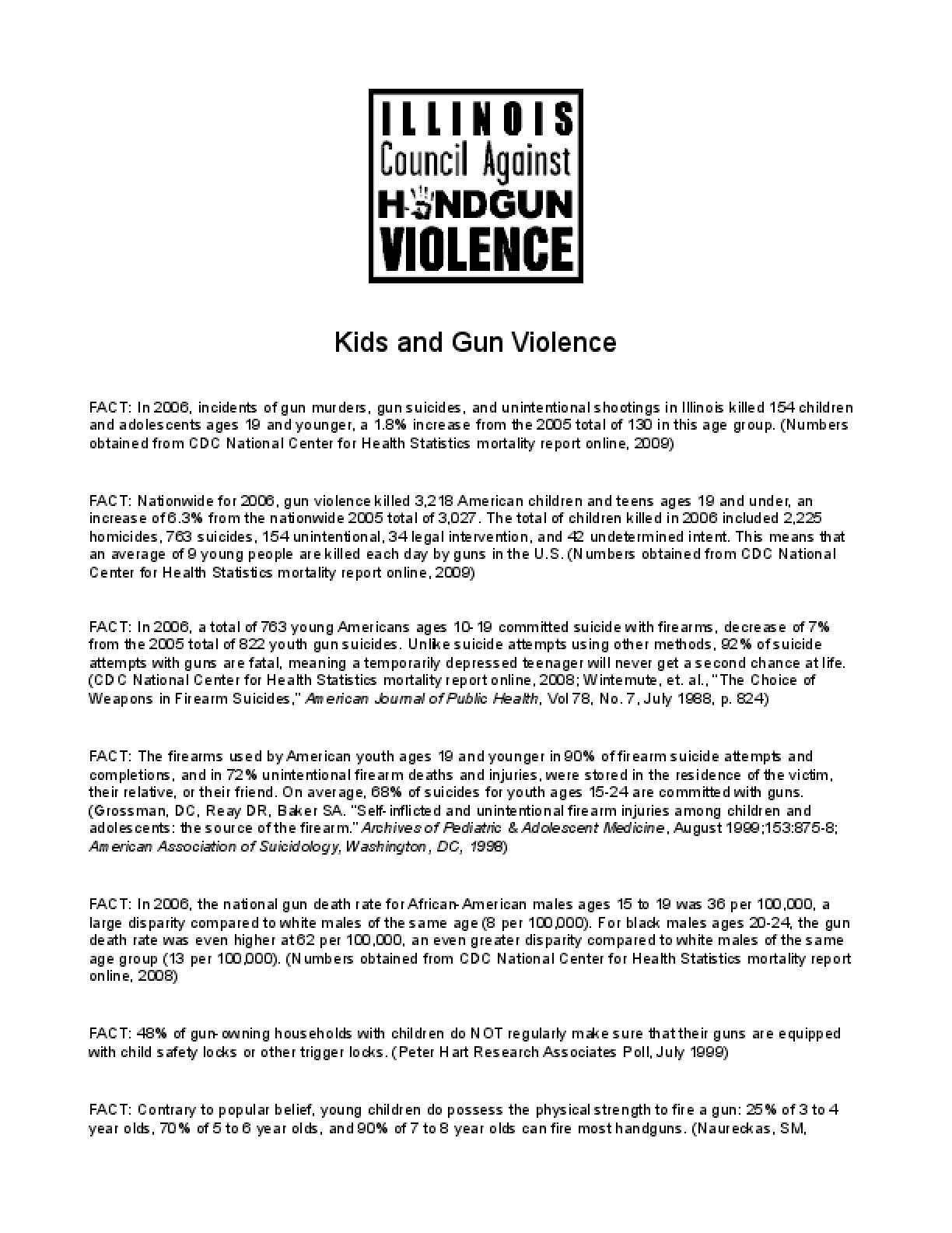 Kids and Gun Violence Factsheet