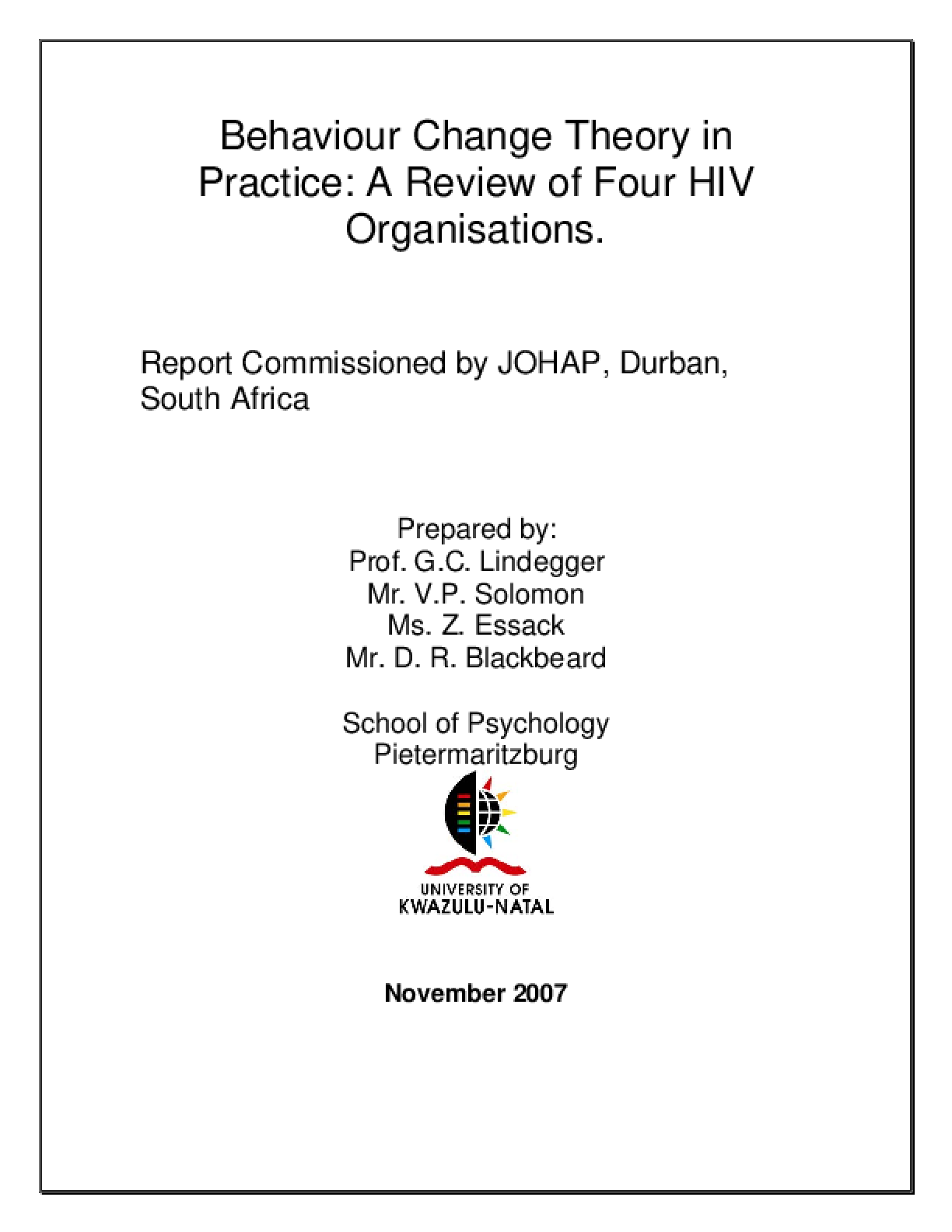 Behaviour Change Theory in Practice: A review of four HIV organisations