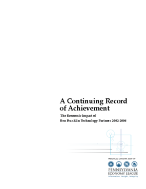 A Continuing Record of Achievement: The Economic Impact of Ben Franklin Technology Partners 2002 - 2006