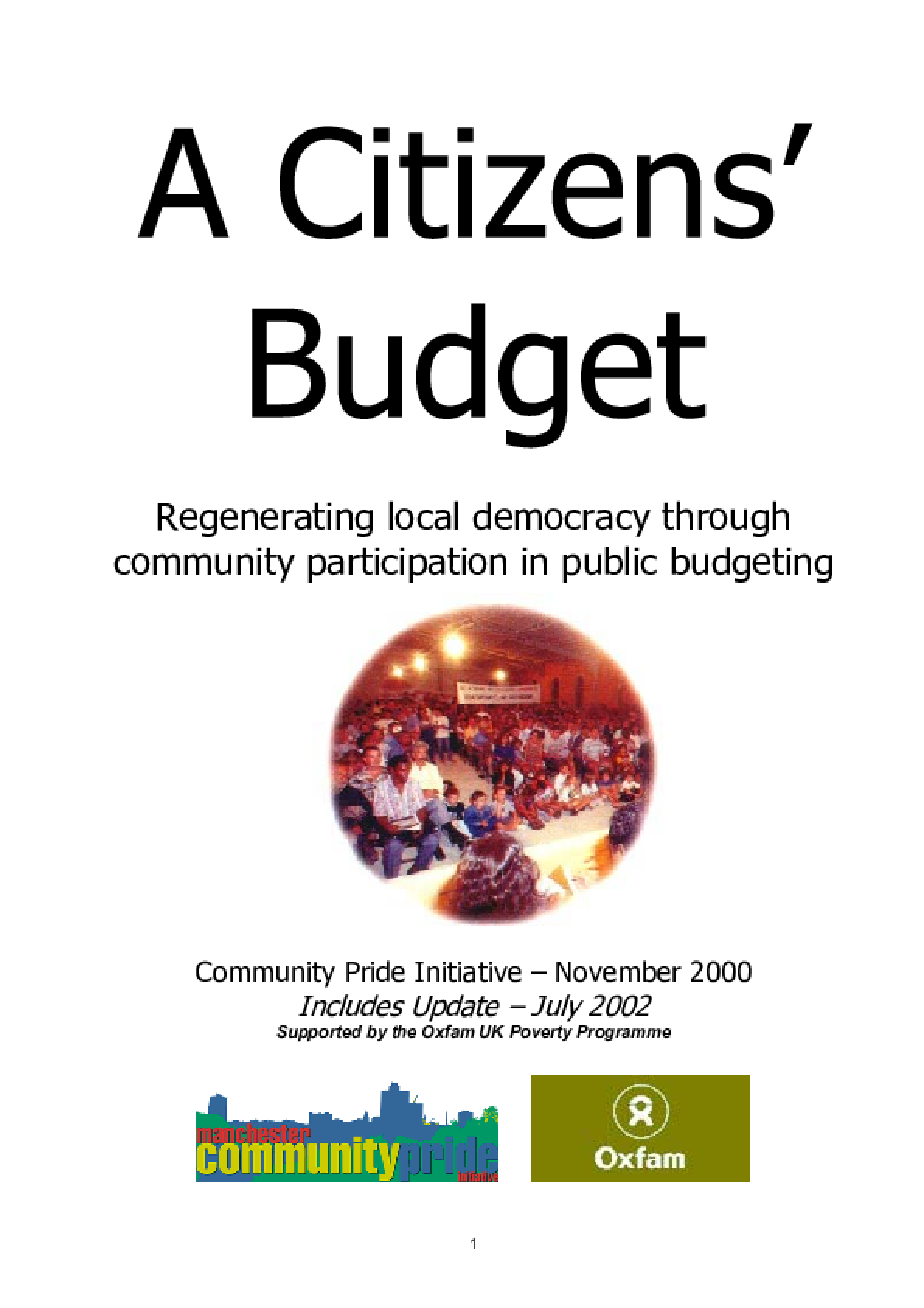A Citizens' Budget: Regenerating local democracy through community participation in public budgeting