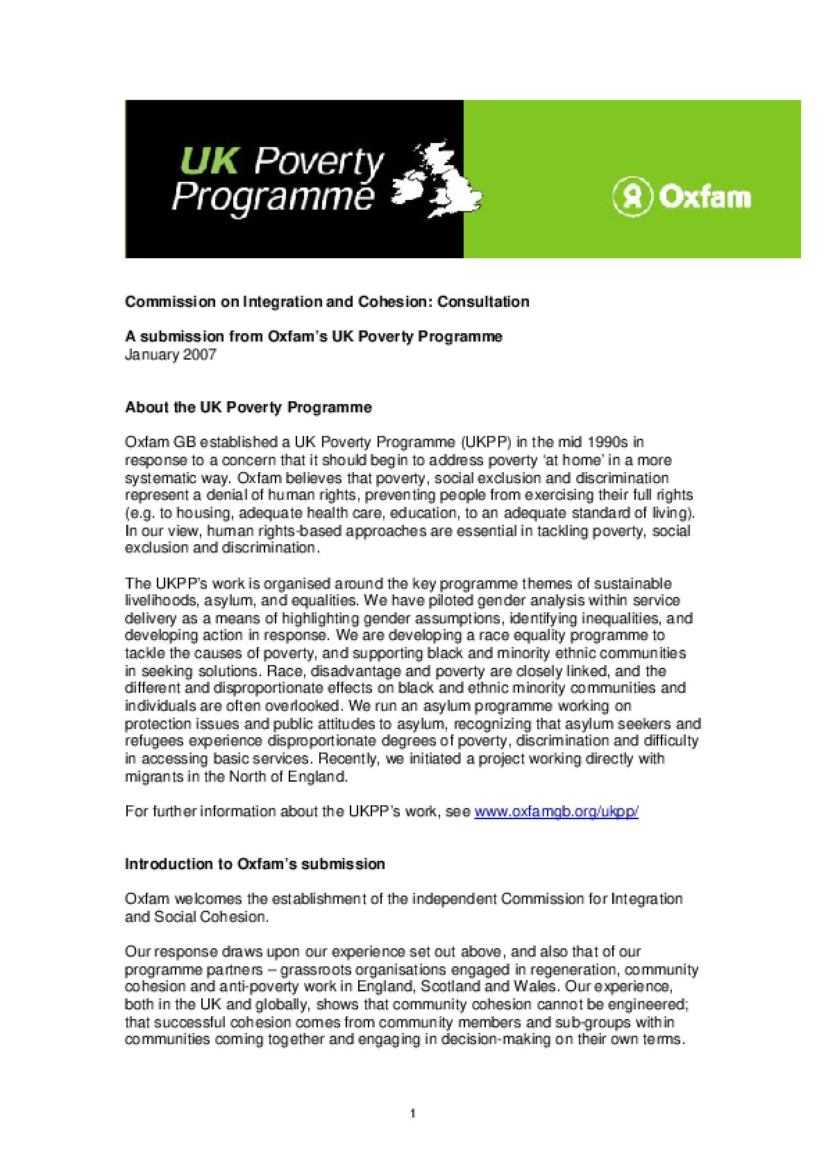Commission on Intergration and Cohesion Consultation: A submission from Oxfam's UK Poverty Programme