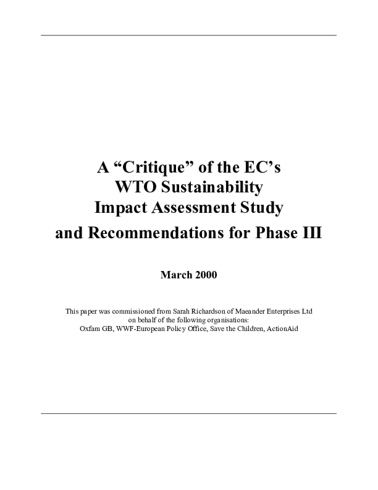 A Critique of the EC's WTO Sustainability Impact Assessment Study and Recommendations for Phase III