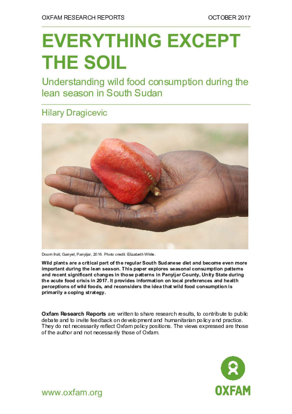 Everything Except the Soil: Understanding wild food consumption during the lean season in South Sudan