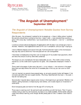 The Anguish of Unemployment