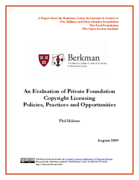 An Evaluation of Private Foundation Copyright Licensing Policies, Practices and Opportunities