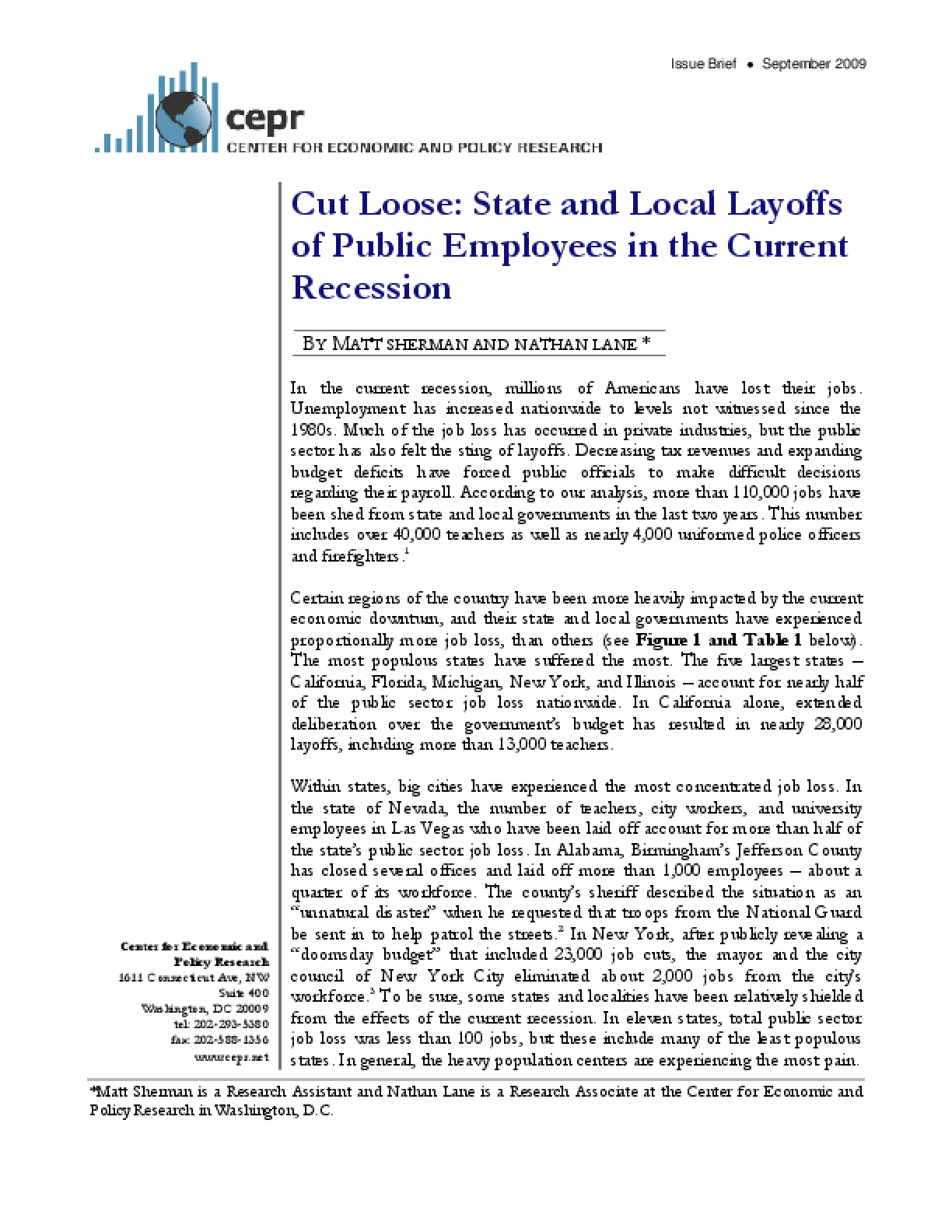 Cut Loose: State and Local Layoffs of Public Employees in the Current Recession