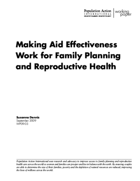 Making Aid Effectiveness Work for Family Planning and Reproductive Health