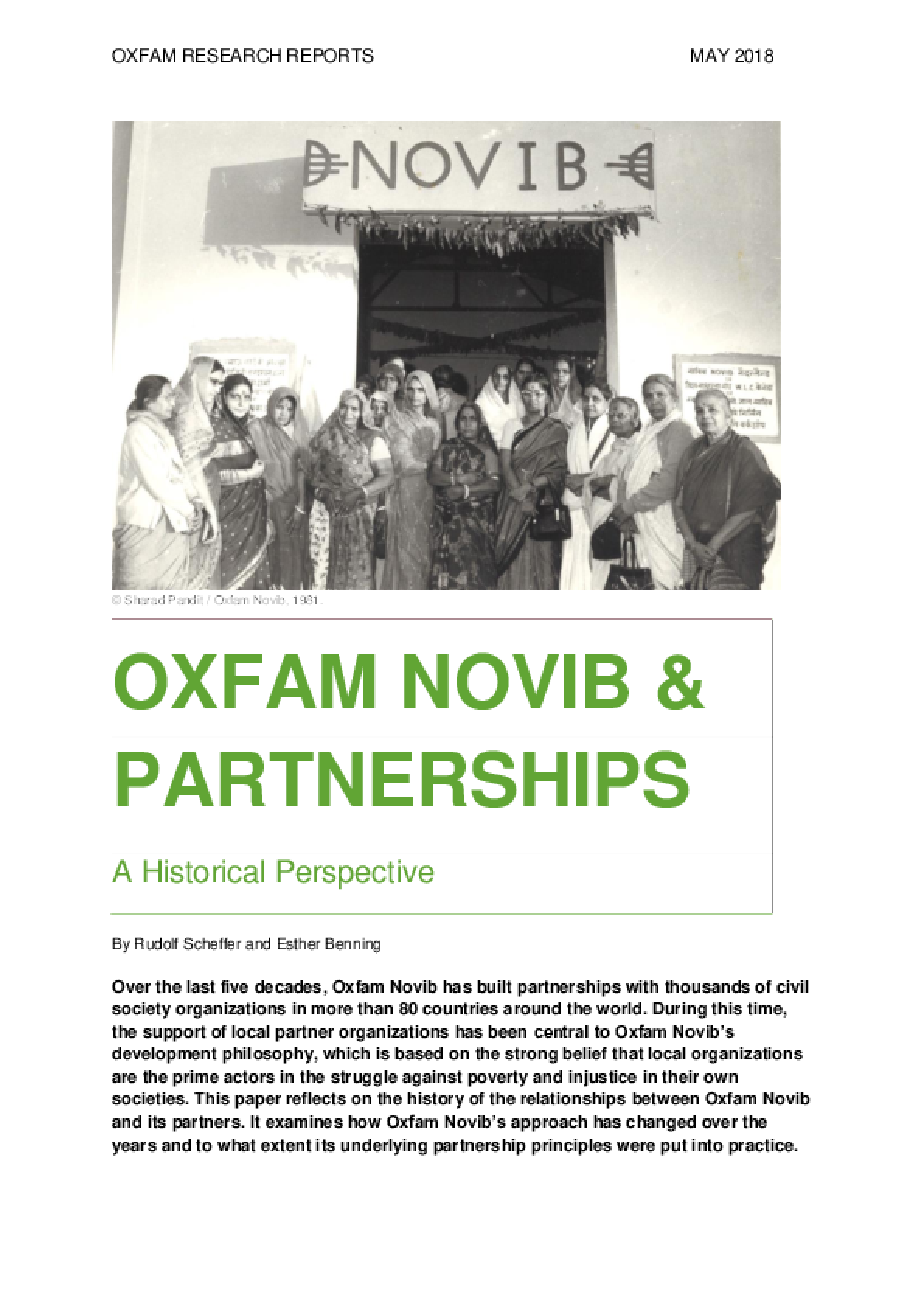 Oxfam Novib and Partnerships: A historical perspective
