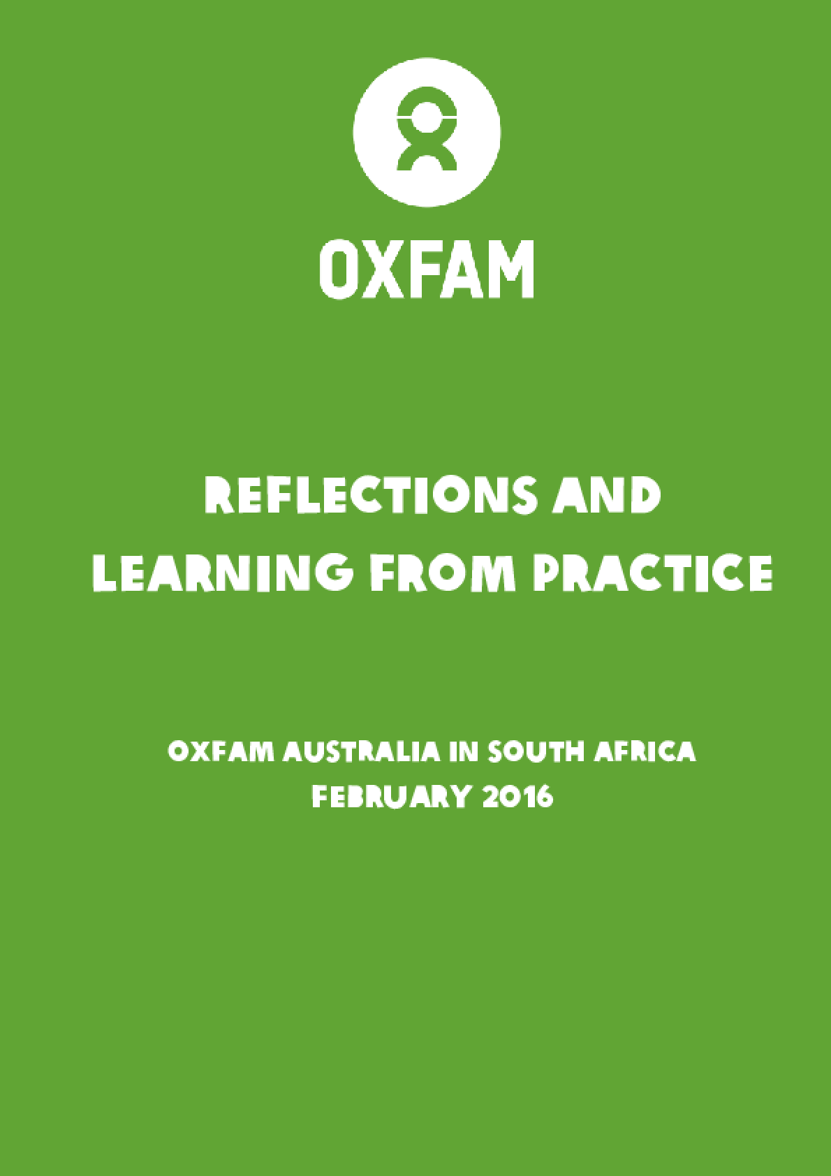 Reflections and Learning from Practice: Oxfam Australia in South Africa