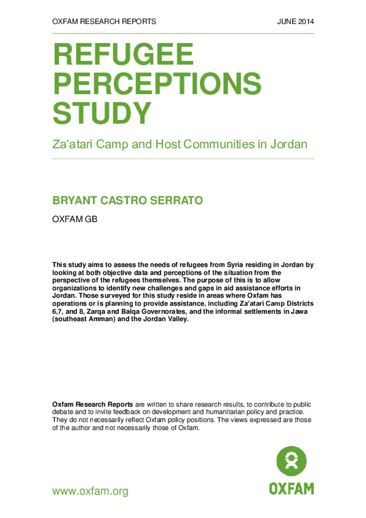 Refugee Perceptions Study: Za'atari camp and host communities in Jordan