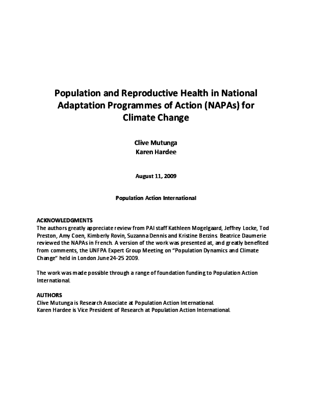 Population and Reproductive Health in National Adaptation Programs of Action