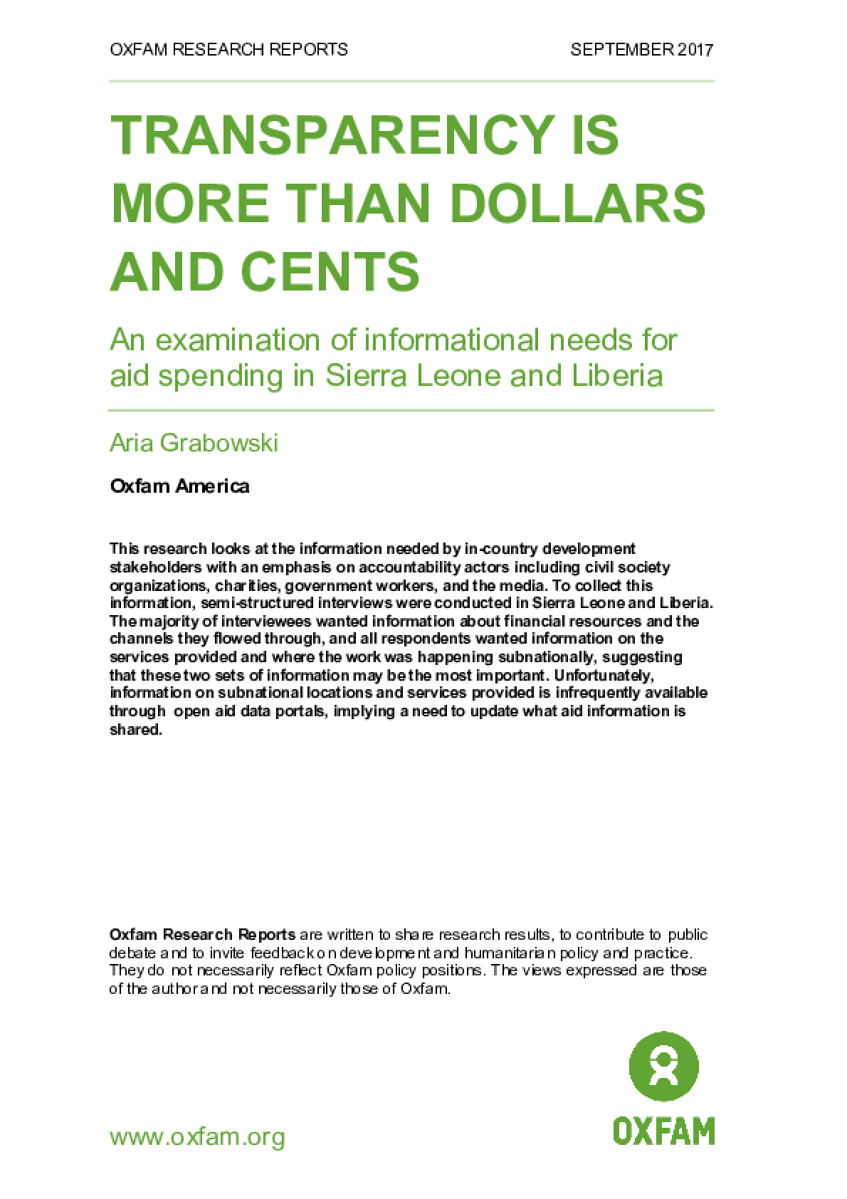 Transparency is more than dollars and cents: An examination of informational needs for aid spending in Sierra Leone and Liberia