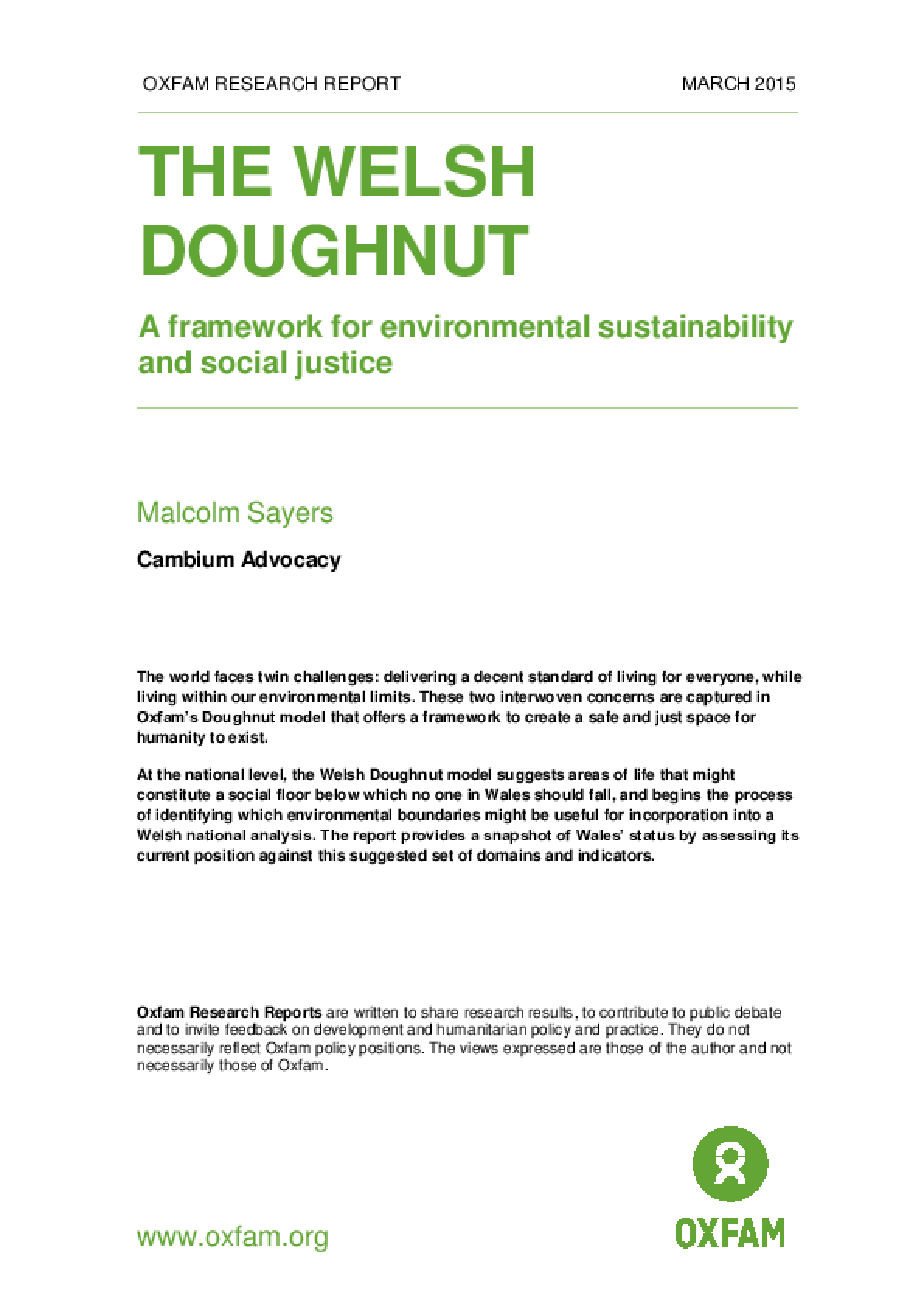 The Welsh Doughnut: A framework for environmental sustainability and social justice
