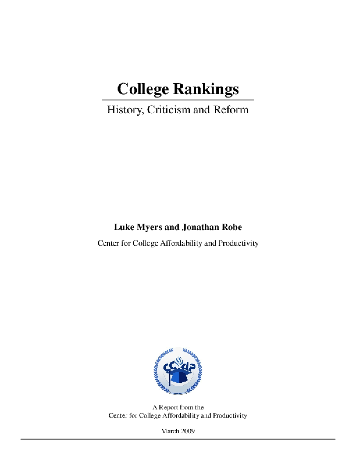 College Rankings - History, Criticism and Reform