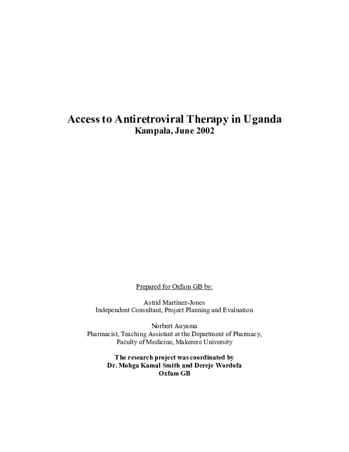 Access to Antiretroviral Therapy in Uganda: Kampala, June 2002