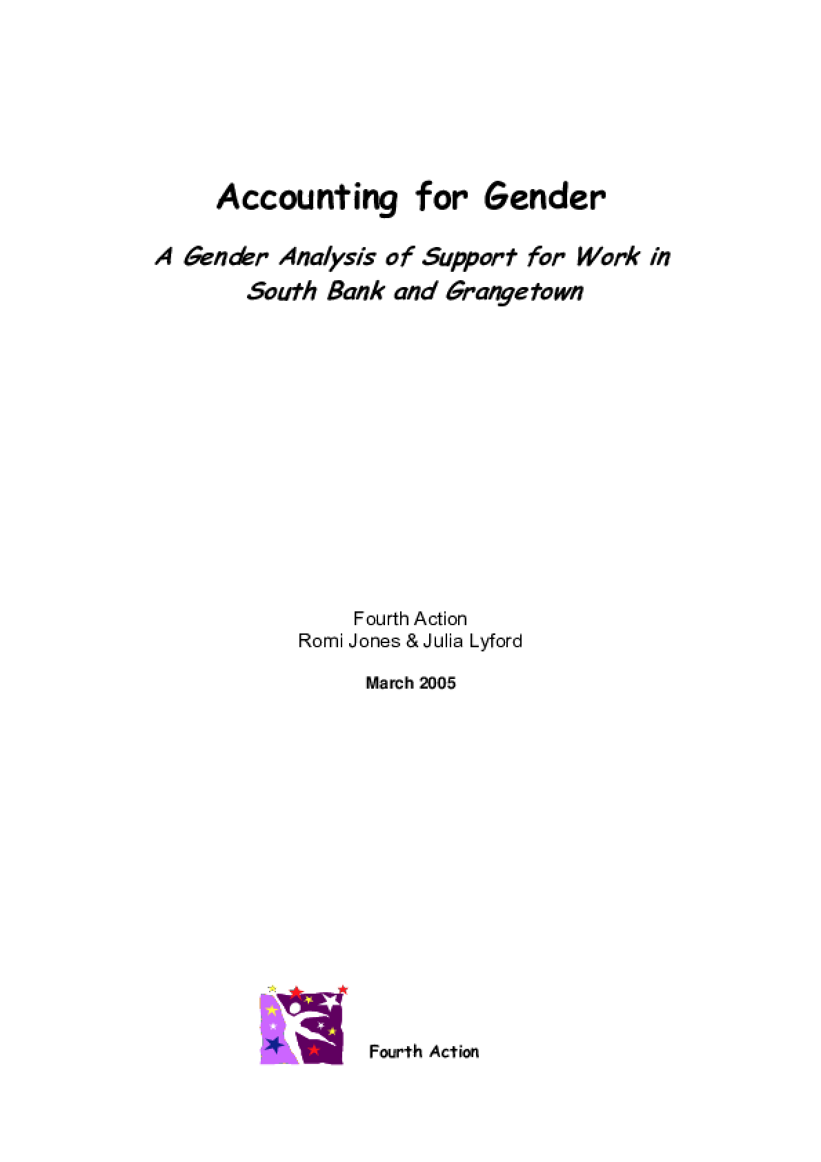 Accounting for Gender: A gender analysis of support for work in South Bank and Grangetown
