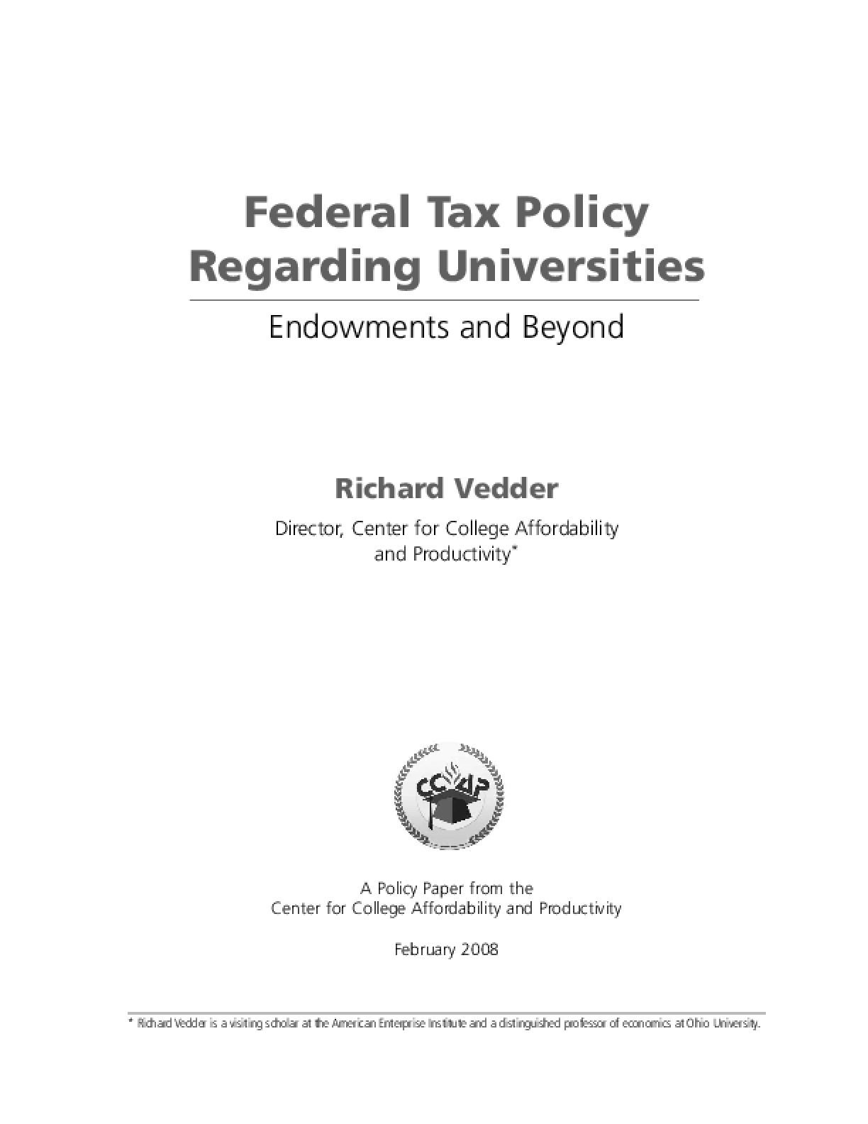 Federal Tax Policy Regarding Universities