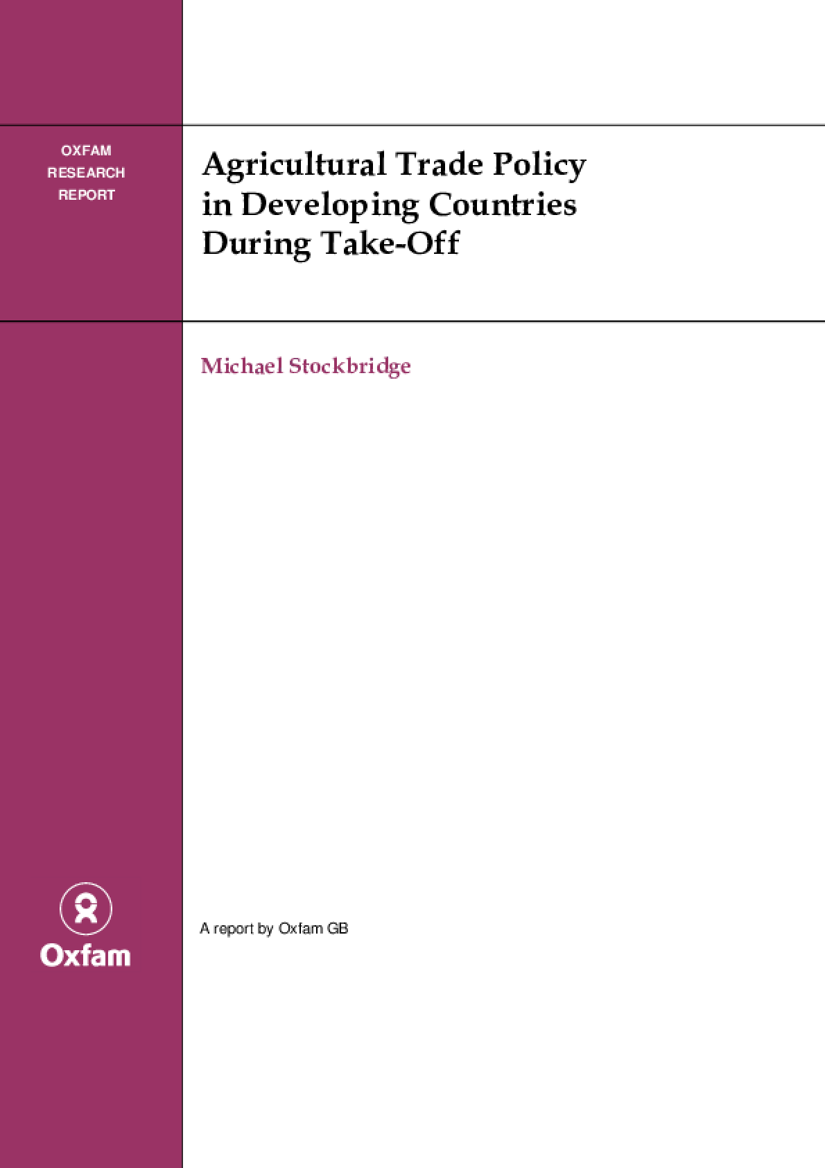 Agricultural Trade Policy in Developing Countries During Take-Off