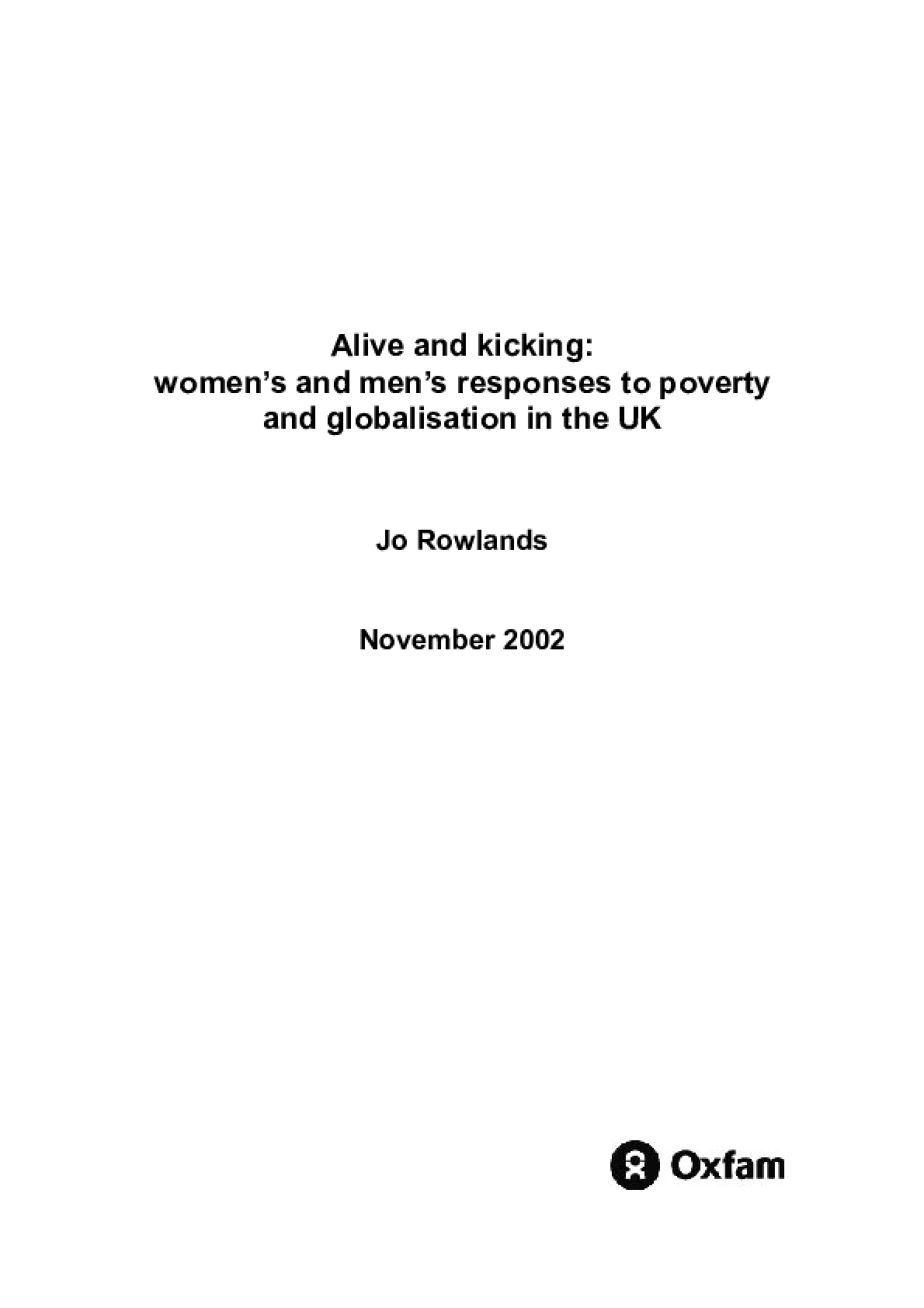 Alive and Kicking: Women's and men's respones to poverty and globalisation in the UK