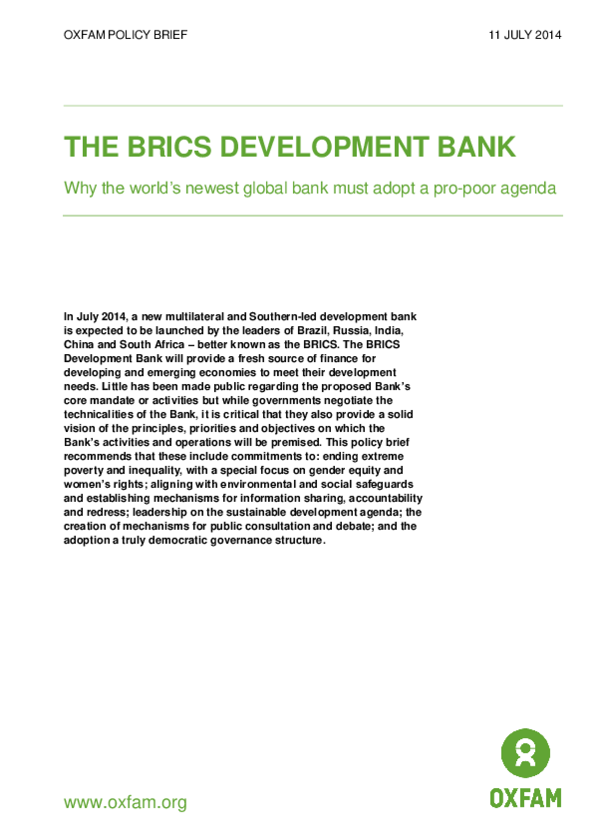 The BRICS Development Bank: Why the world's newest global bank must adopt a pro-poor agenda