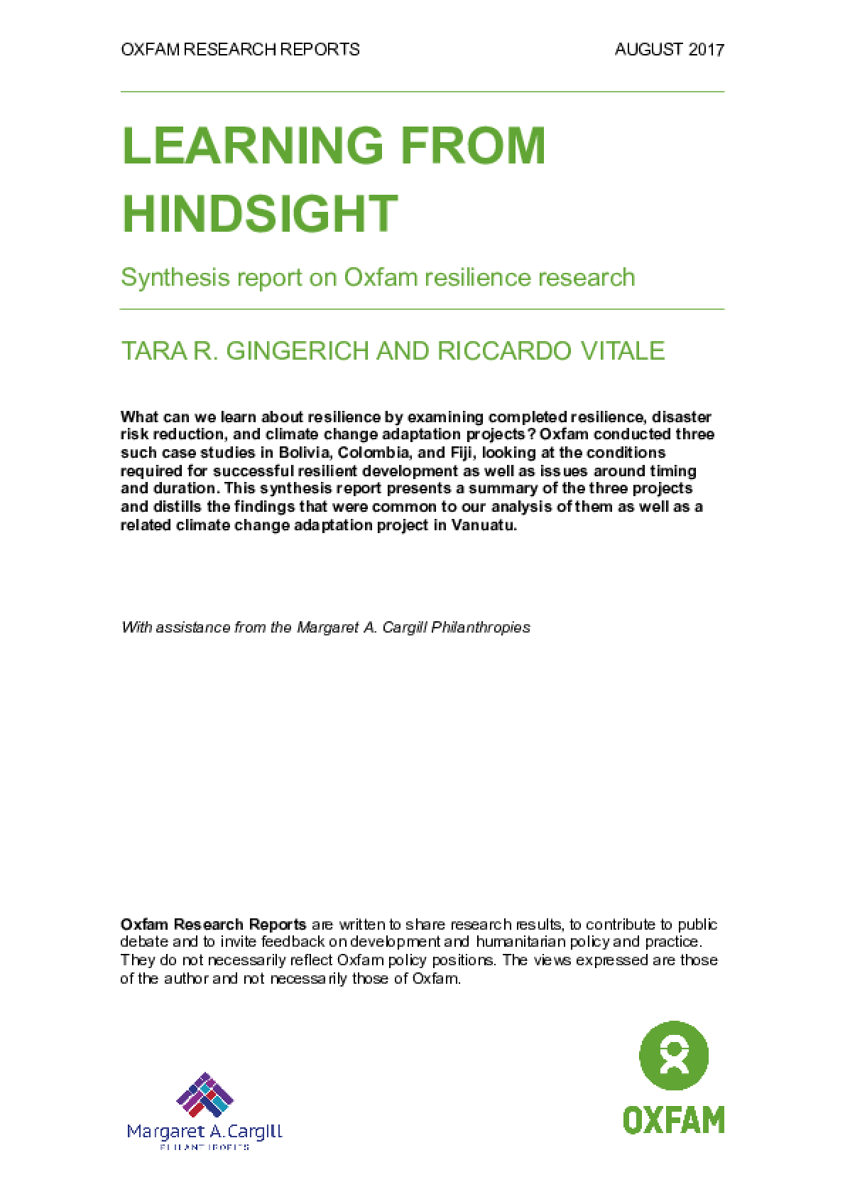 Learning from Hindsight: Synthesis report on Oxfam resilience research