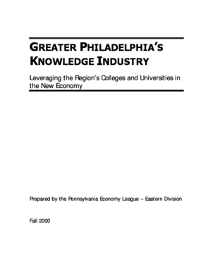 Greater Philadelphia's Knowledge Industry: Leveraging the Region's Colleges and Universities in the New Economy