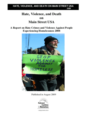 Hate, Violence, and Death on Main Street USA: A Report on Hate Crimes and Violence Against People Experiencing Homelessness 2008