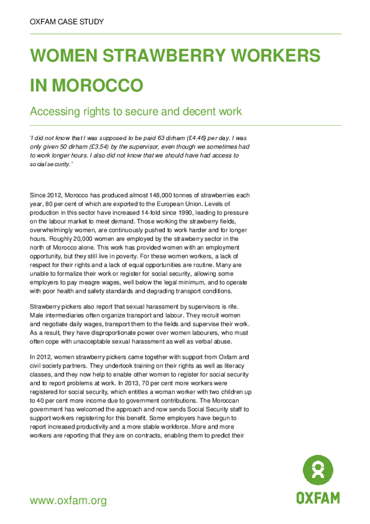 Women Strawberry Workers in Morocco: Accessing rights to secure and decent work