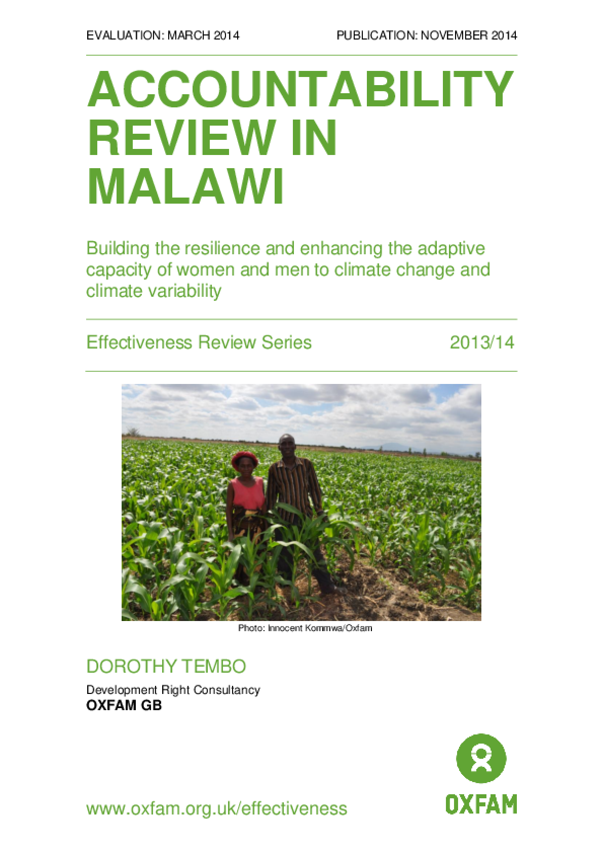 Accountability Review in Malawi: Building the resilience and enhancing the adaptive capacity of women and men to climate change and climate variability