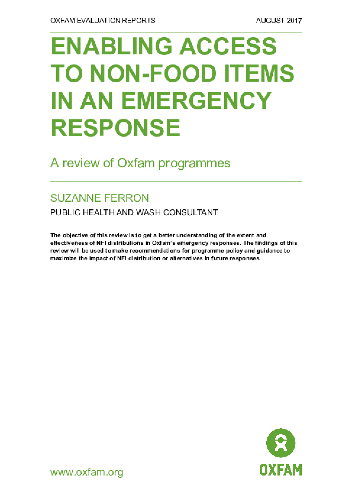 Enabling Access to Non-Food Items in an Emergency Response: A review of Oxfam programmes
