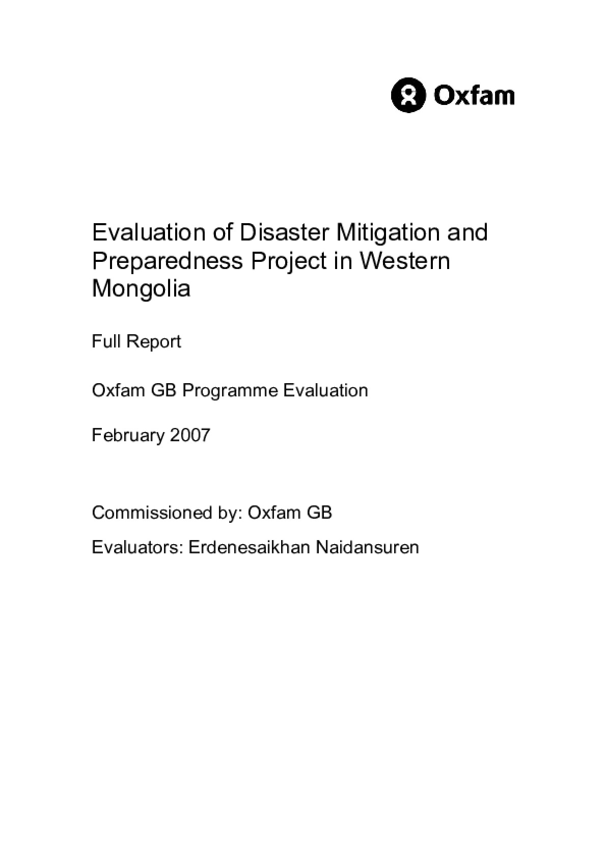 Evaluation of Disaster Mitigation and Preparedness Project in Western Mongolia