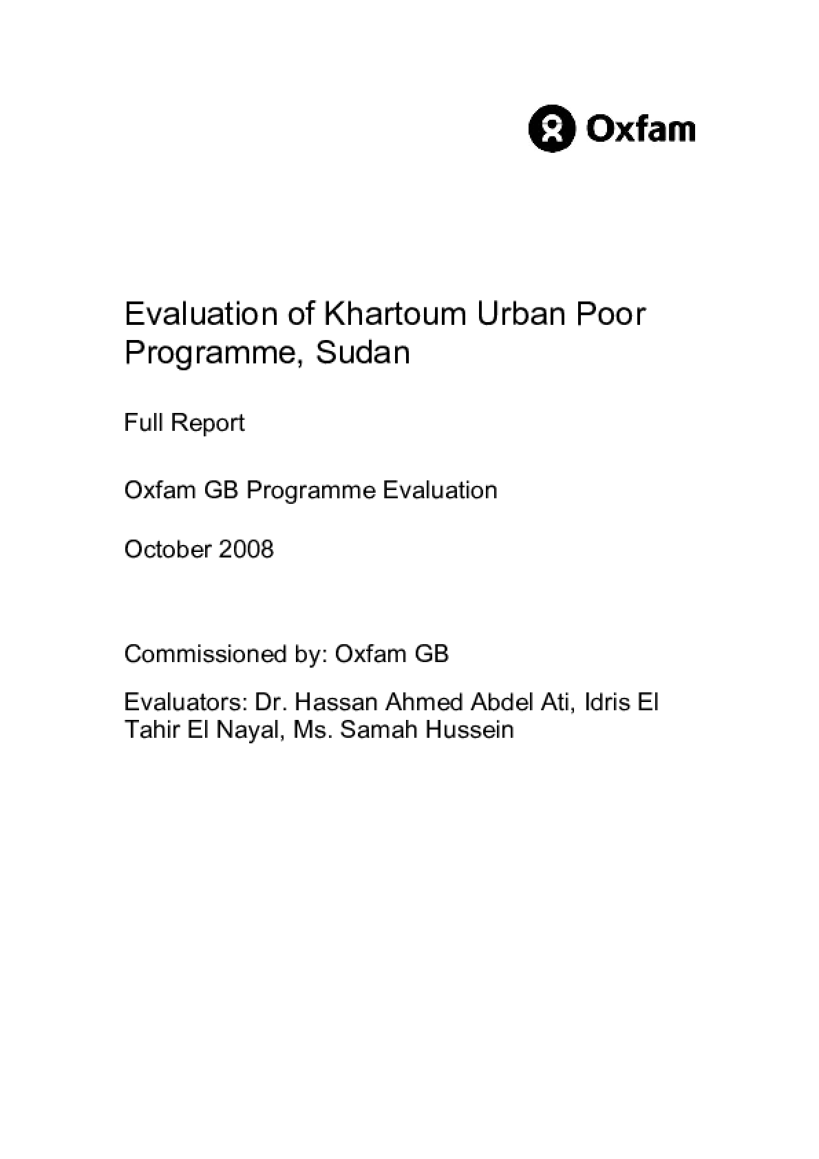 Evaluation of Khartoum Urban Poor Programme, Sudan