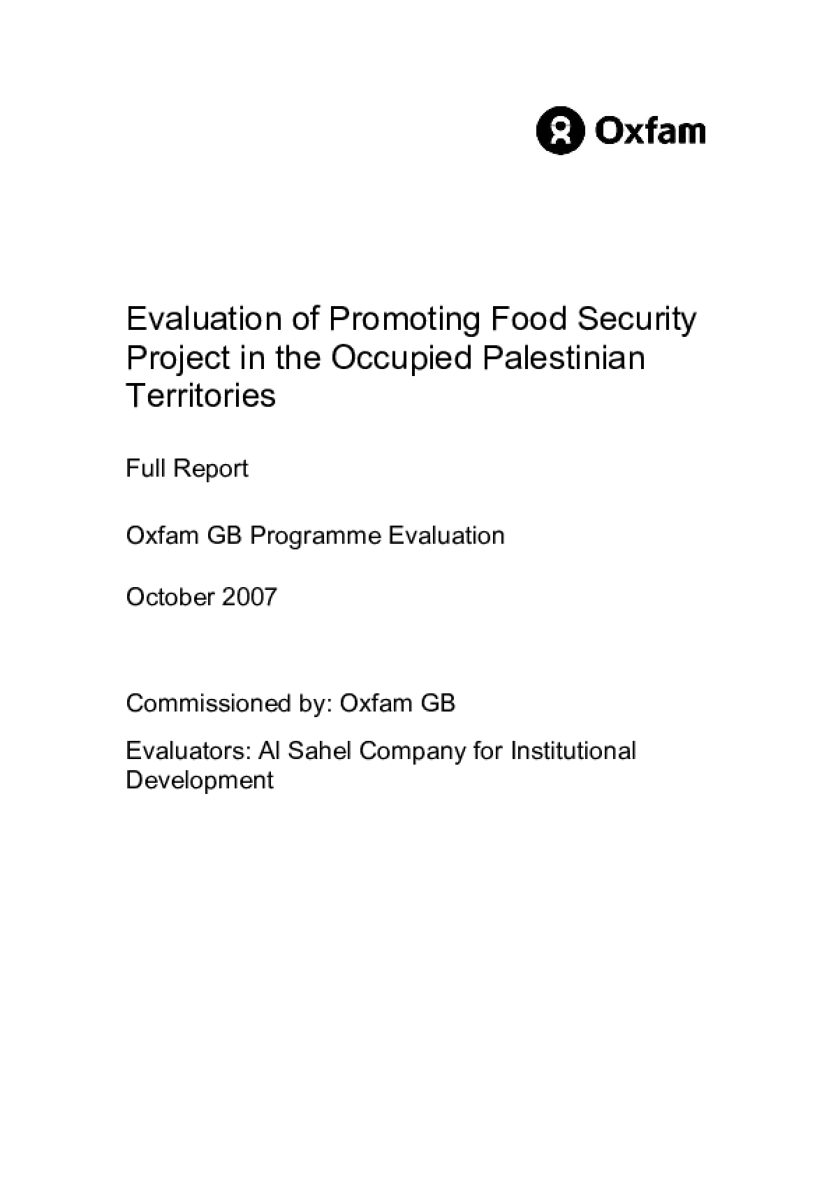 Evaluation of Promoting Food Security Project in the Occupied Palestinian Territories