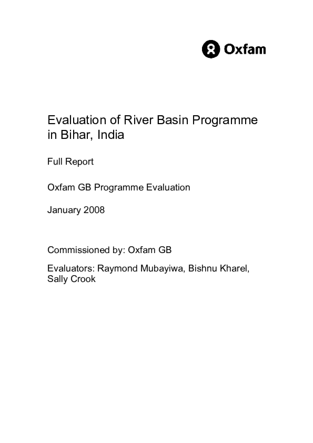 Evaluation of River Basin Programme in Bihar, India