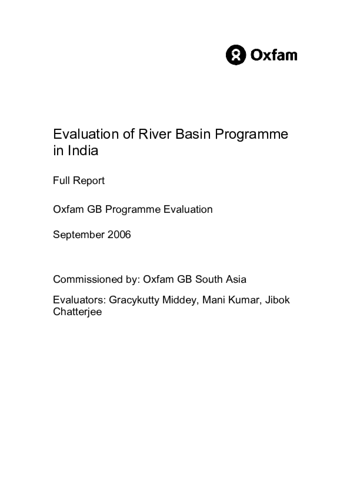 Evaluation of River Basin Programme in India