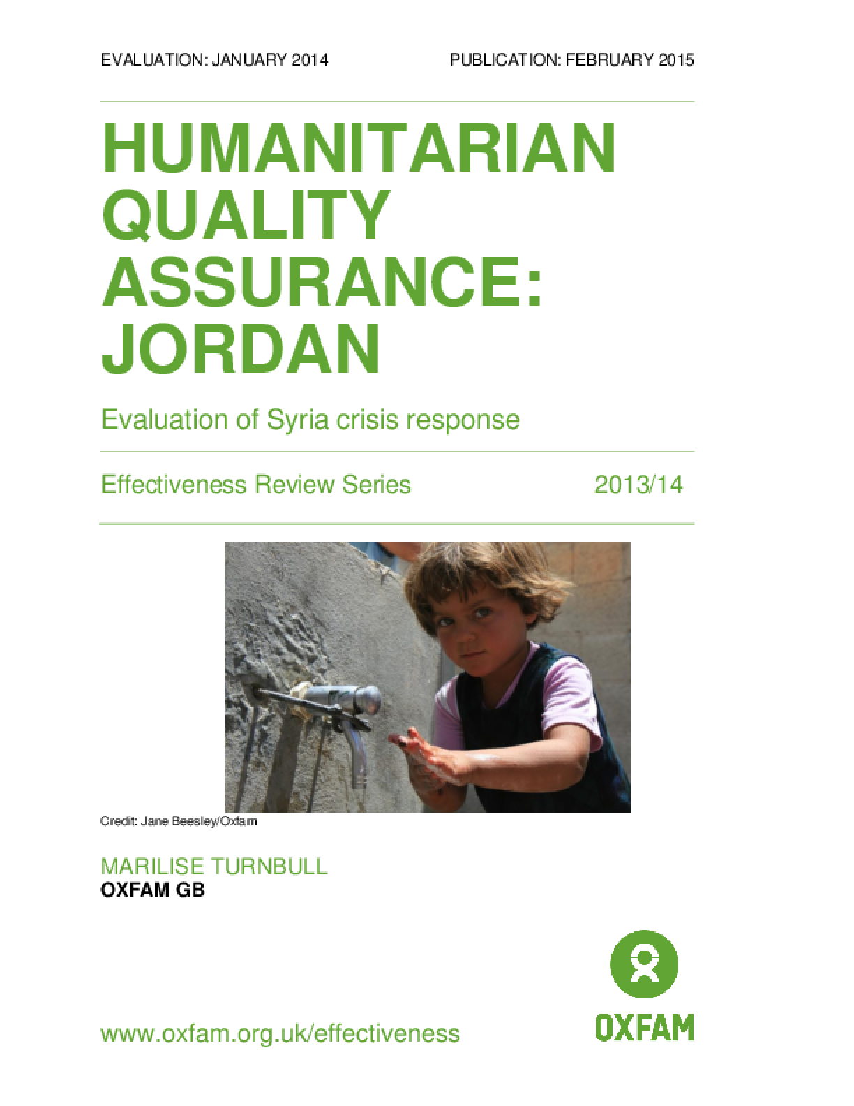 Humanitarian Quality Assurance - Jordan: Evaluation of Syria crisis response