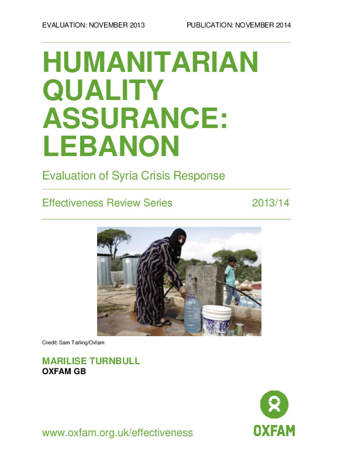 Humanitarian Quality Assurance - Lebanon: Evaluation of Syria crisis response