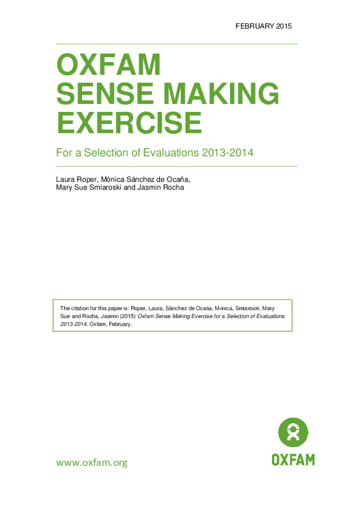 Oxfam Sense Making Exercise for a Selection of Evaluations 2013-2014