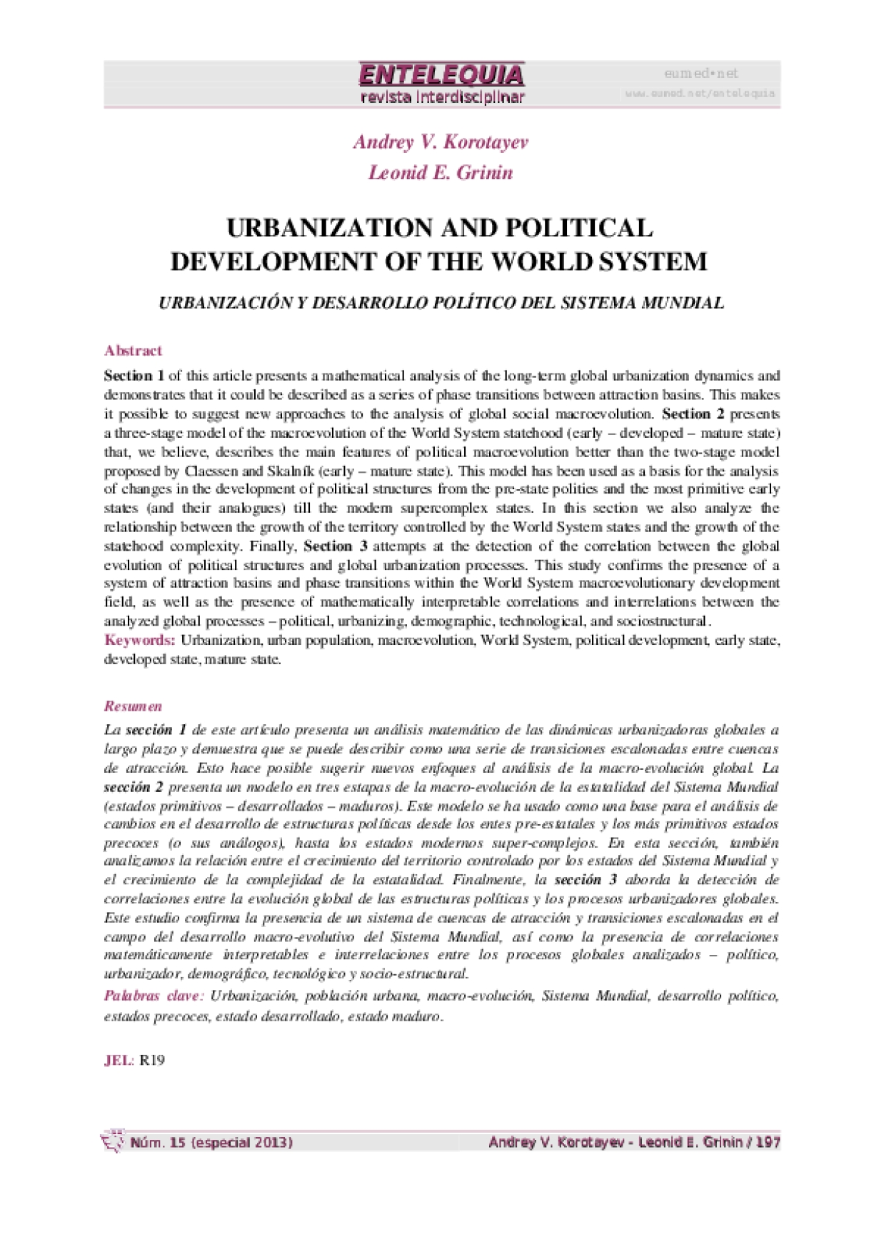 Urbanisation and Political Development of the World System