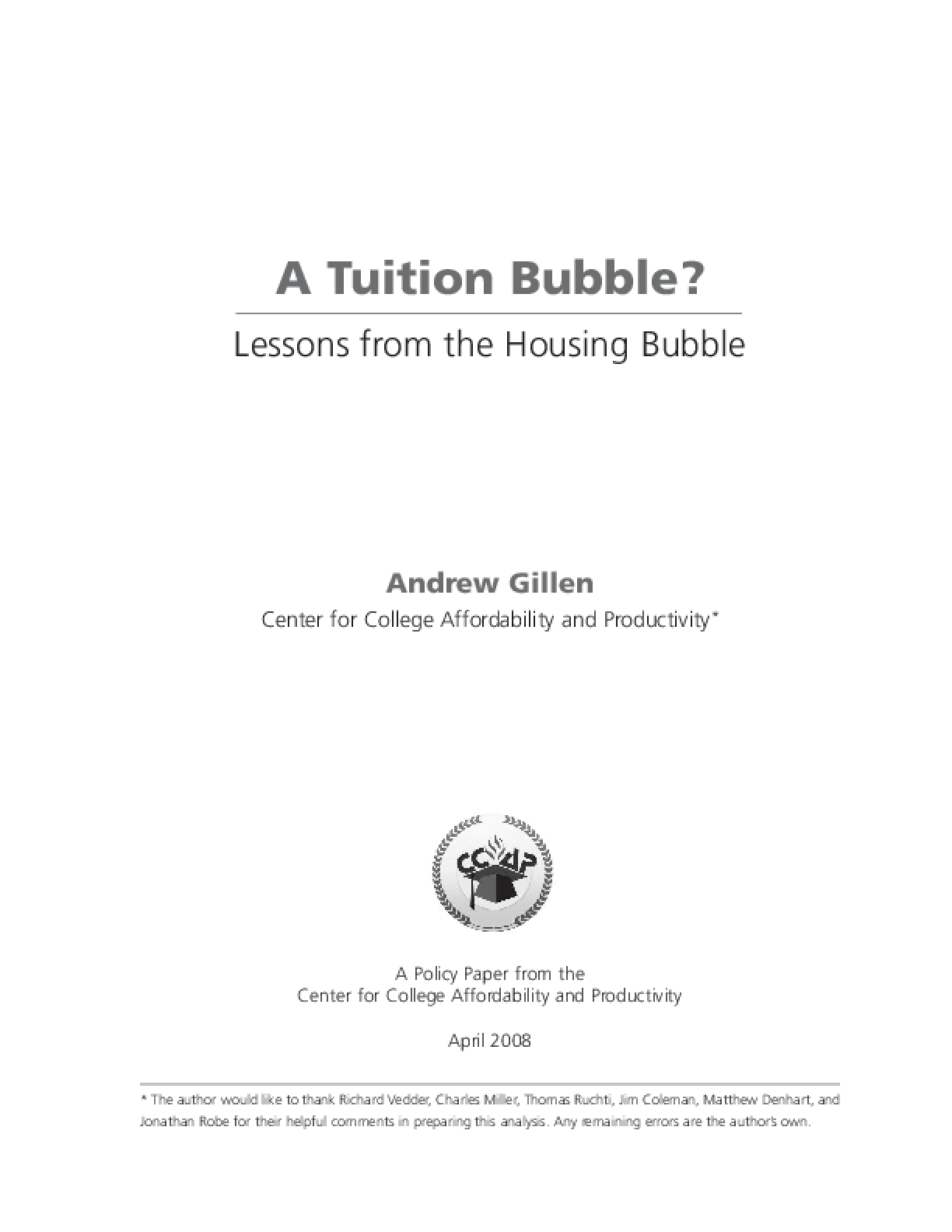 Tuition Bubble? Lessons from the Housing Market