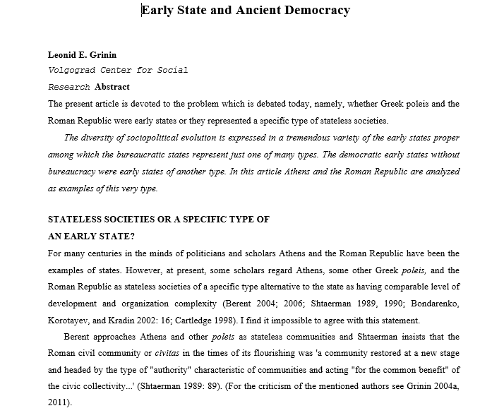 Early State and Ancient Democracy