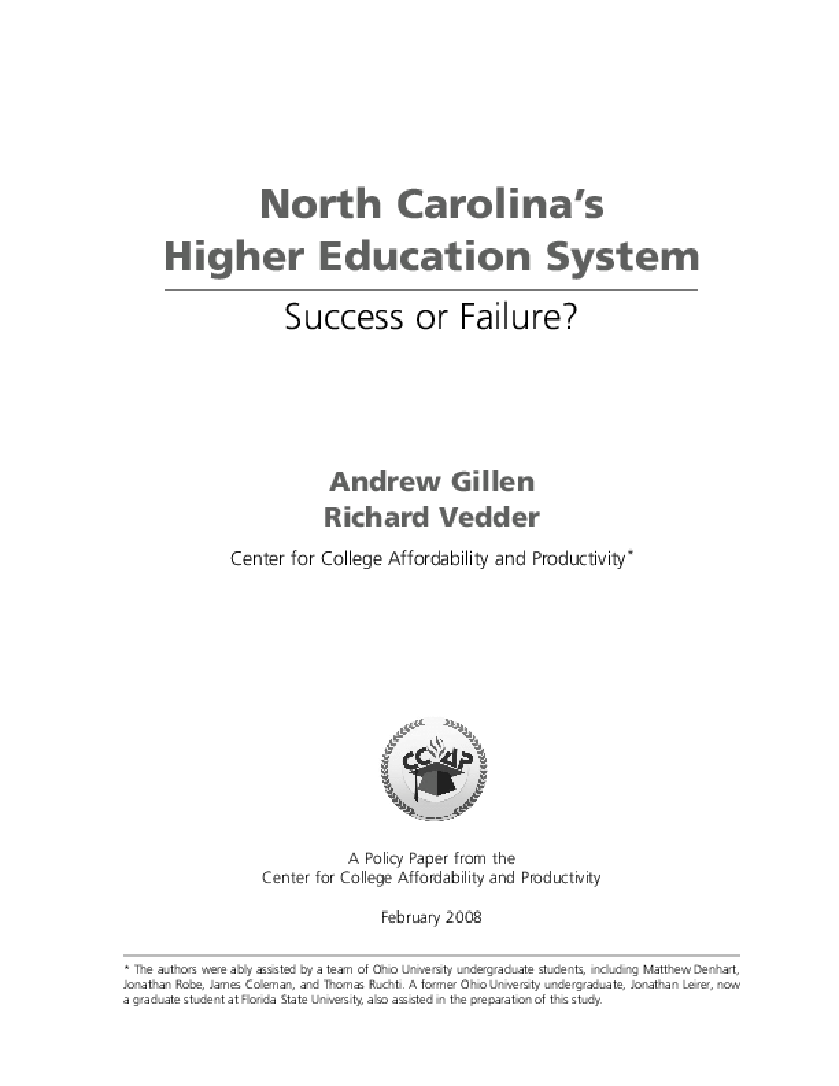 North Carolina's Higher Education System - Success or Failure?